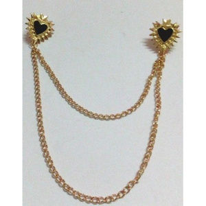 Black Hearts Collar Tips & Chain ~ Gold